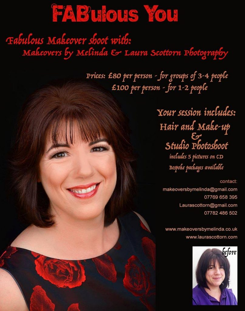 Hair beautifully styled and your make-up done to help you feel the FABulous YOU that you are, by Makeovers by Melinda based in Hedge End in Southampton. Followed by a glamourous makeover photo-session by Laura.